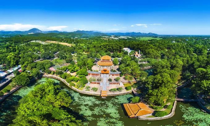 An aerial shot of the ancient royal tomb of Tu Duc, the fourth king of the Nguyen Dynasty. Photo by Shutterstocks/Johnny Tran.