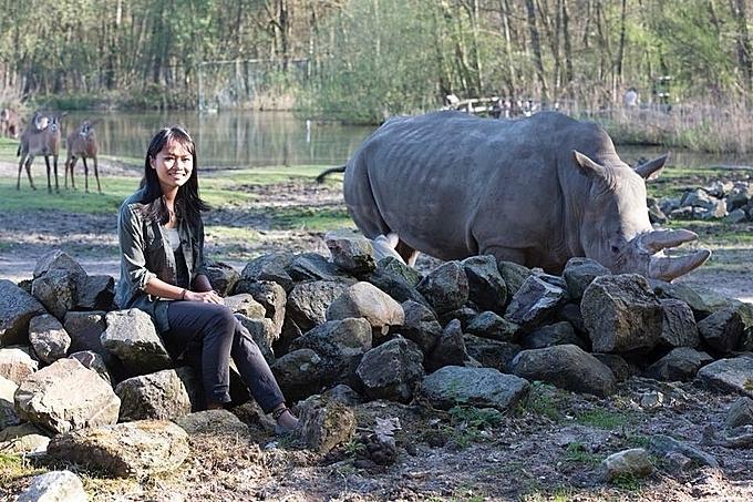 Trang working at Burger Zoo, Netherlands. Photo courtesy of Trang Nguyen.