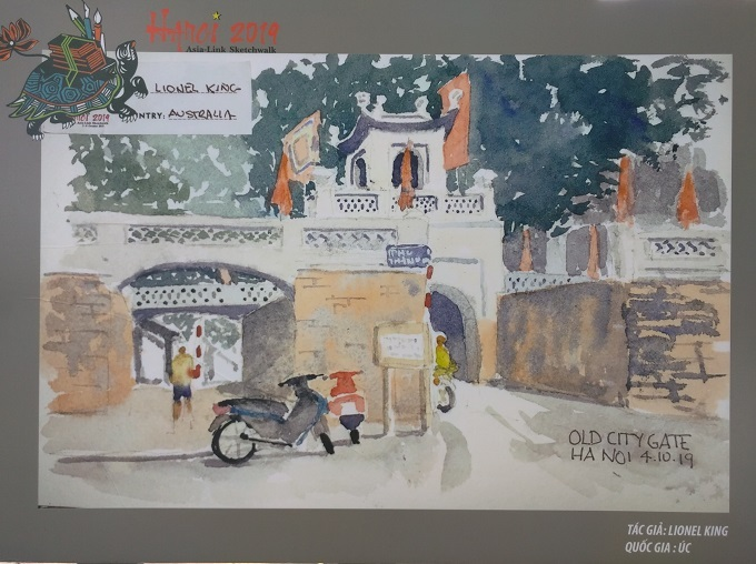 A work by Australian sketcher Lionel Kingtaking part in the recent Asia-Link Sketchwalk in Hanoi. Photos by VnExpress/Linh Do.