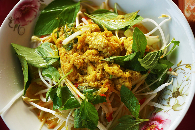 Bun ken, or snakehead fish noodle soup,