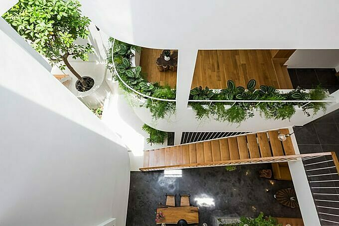 The rooms are linked with each other by wooden bridges. The owner uses a lot of trees and plants to fill the space with green.The atrium floods the interior with sunlight, which also enterstherooms through the large windows.