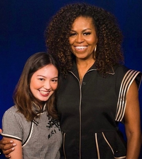 Michelle Obama wears Cong Tri's outfit for a second time at a Singapore event on December 17, 2019. Photo courtesy of Cong Tri.