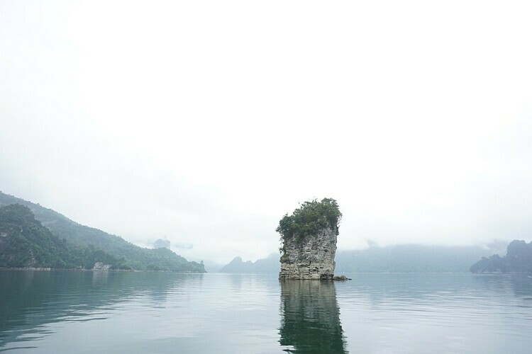 The famous Coc Vai Pha rock in Na Hang Lake.