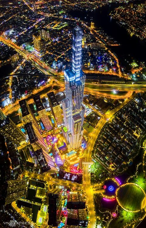 The Landmark 81 building in HCMC at night. At 461.15 meters, it's the tallest building in Vietnam and the 17th tallest in the world. It has 81 floors.