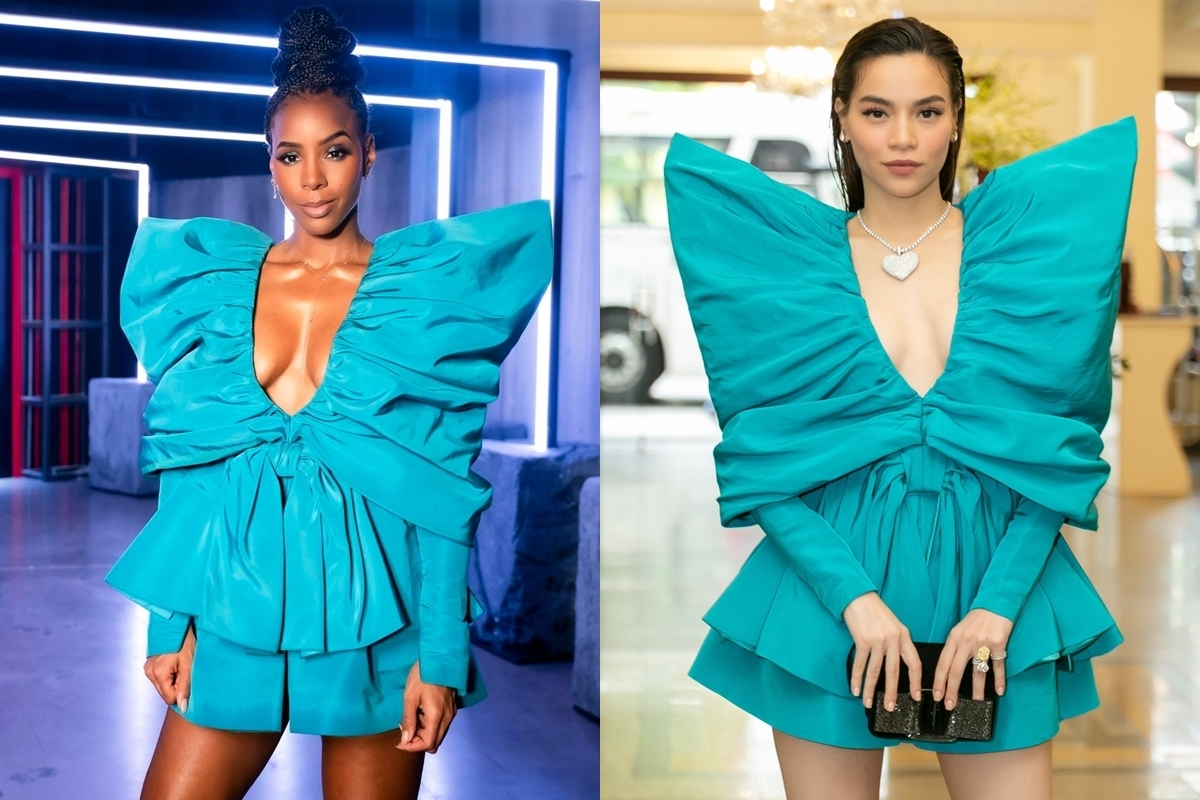 Kelly Rowland and Ho Ngoc Ha in rhe same dress designed by Cong Tri.