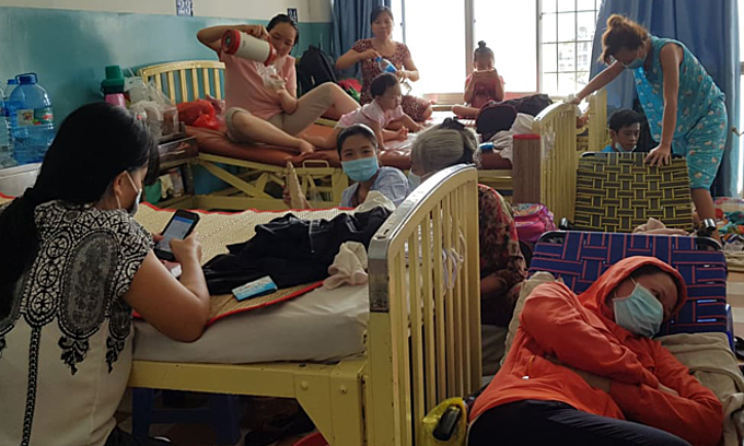 Patients infected with measles are treated at Saigons Hospital for Tropical Diseases on January 14, 2019. Photo by VnExpress/Le Phuong.