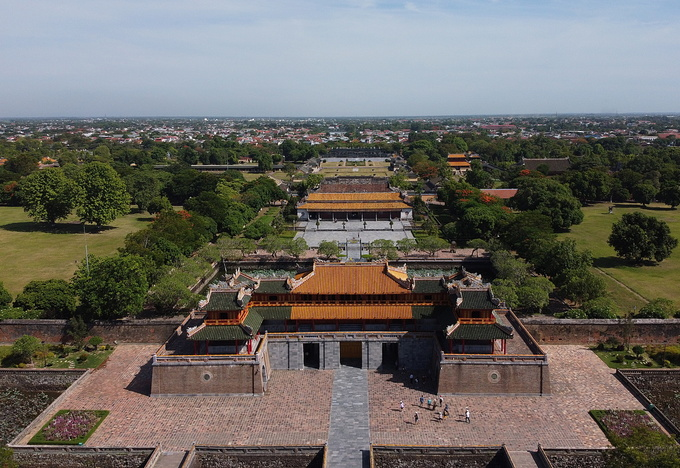 The Hue Imperial Citadel is seen from above. Photo by VnExpress/Dac Thanh.