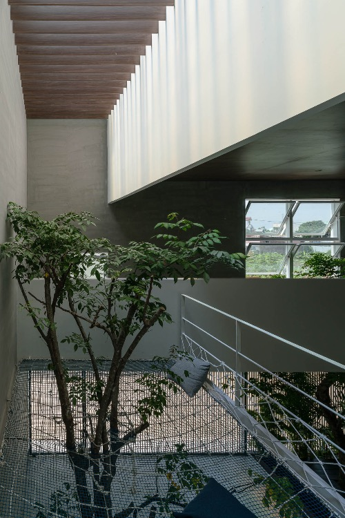 The owners want a small garden inside the house, so architects decided to put trees at as many places as they can. The greenery combines with windows and an atrium, making the house have more natural features.