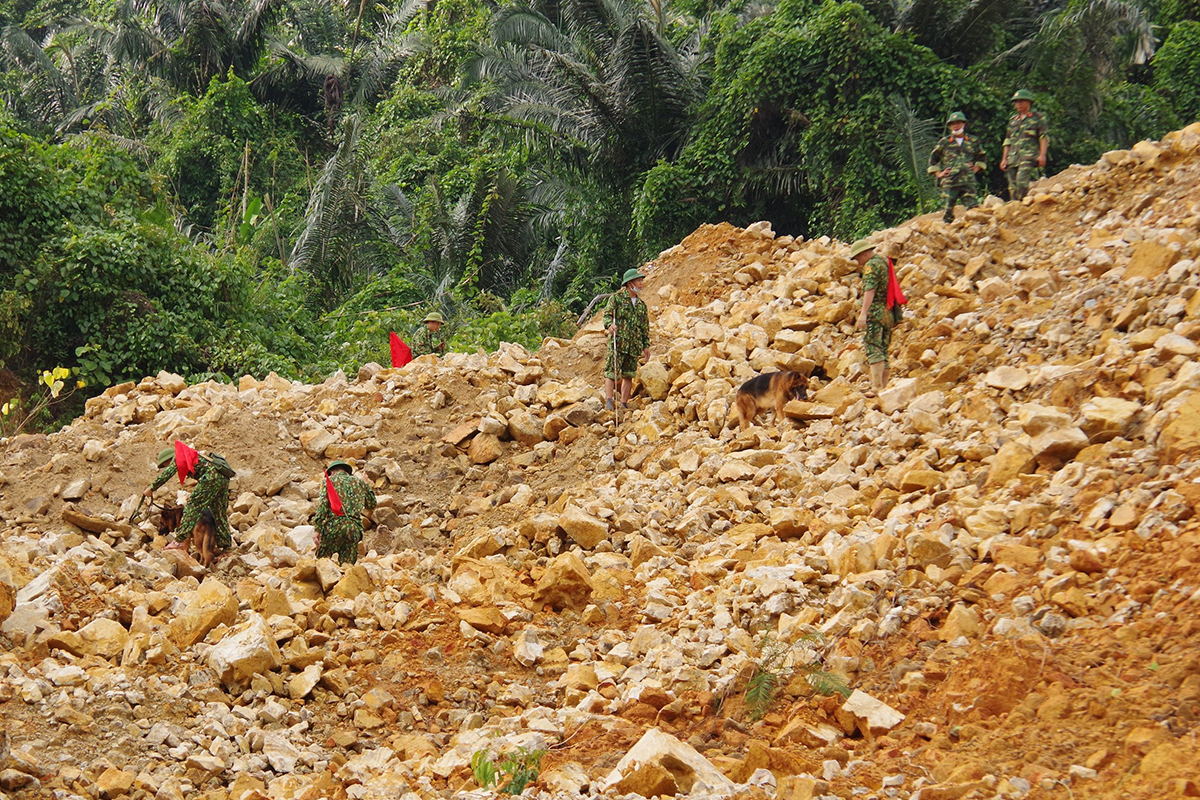 Functional forces and service dogs search for workers of Rao Trang 3 hydropower plant that had been missing after a landslide, October 26, 2020. Photo by VnExpress/Van An