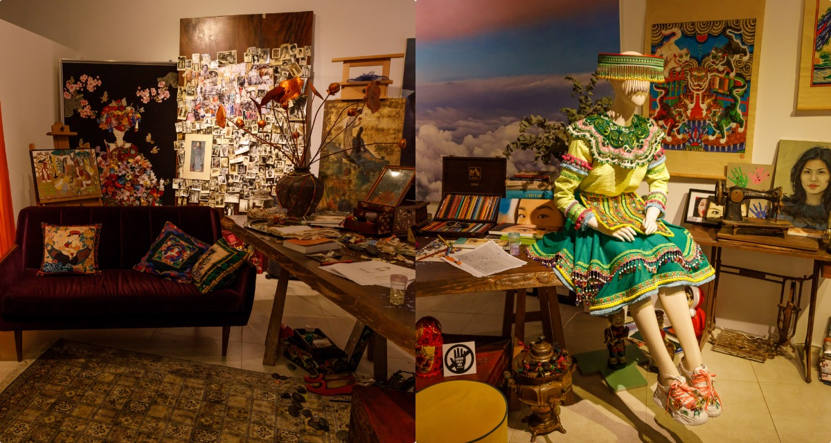 The working space of Thuy Nguyen (L) and a traditional dress she designed for singer Hoang Thuy Linh in her music video last year.Born and raised in Hanoi, Thuy Nguyen studied fine arts in Europe before starting her fashion career nine years ago. Not waiting for a ten year anniversary to hold an exhibition, Thuy chooses the nine-year milestone, saying the period of time is fulfilled enough to show off her fashion journey.