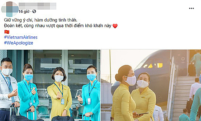 A flight attendant posts on her Facebook, using the #WeApologize hashtag on December 2, 2020.