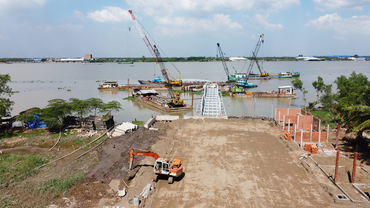 Rach Mieu Ferrry Station takes shape on the side of Ben Tre Province, January 2021. Photo by VnExpress/Hoang Nam