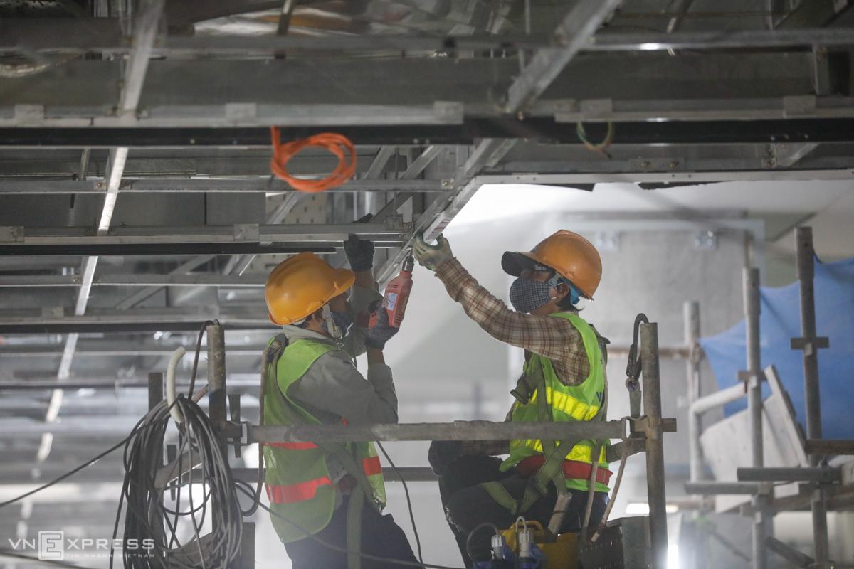 Saigon underground metro station near completion