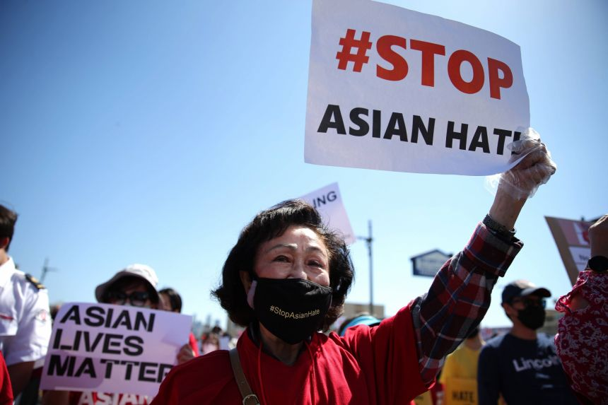 Demonstrators at the Stop Asian Hate March and Rally in Koreatown on March 27, 2021 in Los Angeles, California. Photo by AFP.