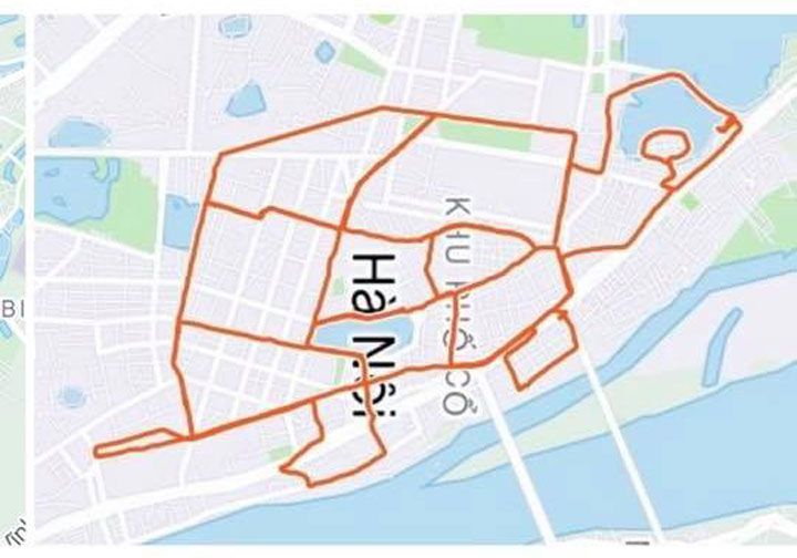 A turtle created by Viets running routes on Strava. Photo courtesy of Dang Viet.  Hanoian creates 'Strava art' by running around capital Chay bo ve tranh2 9791 1625549 9131 1840 1625646002