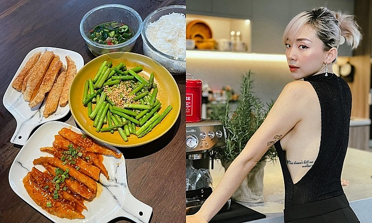 Singer Toc Tien cooks up many dishes to enjoy with her husband while staying put at home. Photo courtesy of Tien