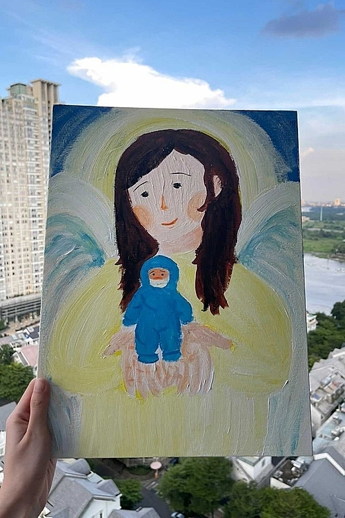 Thuy Dung spends time drawing to help her stay optimistic during social distancing period. Photo courtesy of Dung