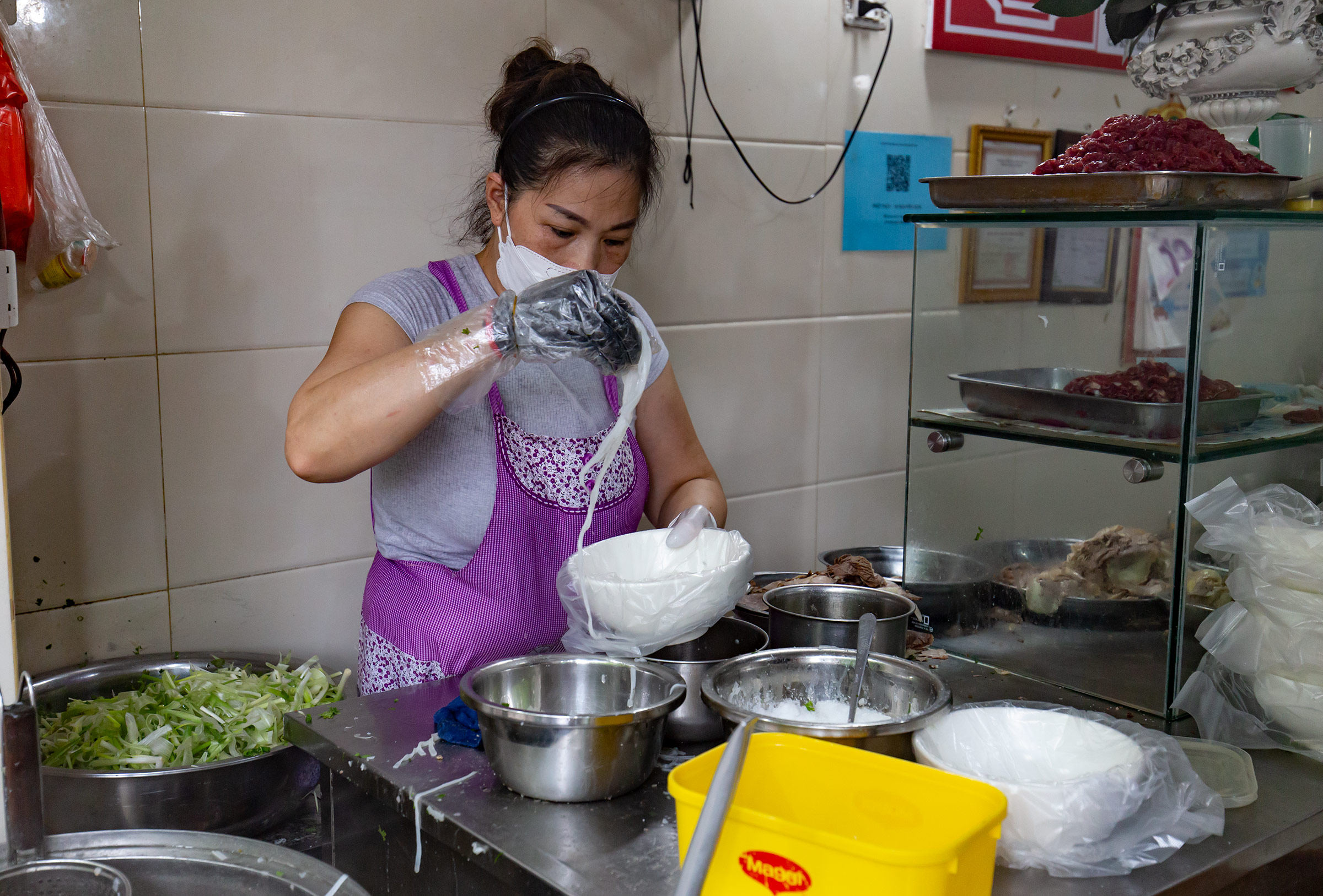 Tran Thi Thuy, owner, said she has been selling more than 1,000 bowls of pho a day since reopening.Im very happy that everyones life is gradually returning to normal.
